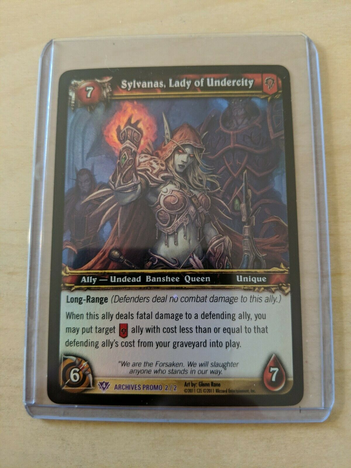 World of Warcraft TCG Sylvanas Lady of Undercity Archives Foil Promo Card 2/2