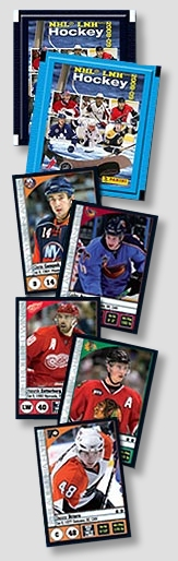 Example products from the panini 2008/09 NHL hockey sticker set.
